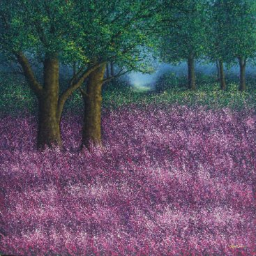 The-Season-of-Love—LAVENDAR-GARDEN-I,-Narate-Kathong,-150-x-150-cm,-oil-_-acrylic-on-canvas,-2011-[8290]