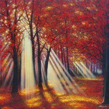[Masterpiece-Collection]-The-Season-of-Love—AUTUMN-RAY—Narate-Kathong—200-x-200-cm,-oil-_-acrylic-on-canvas,-2010-[8358]